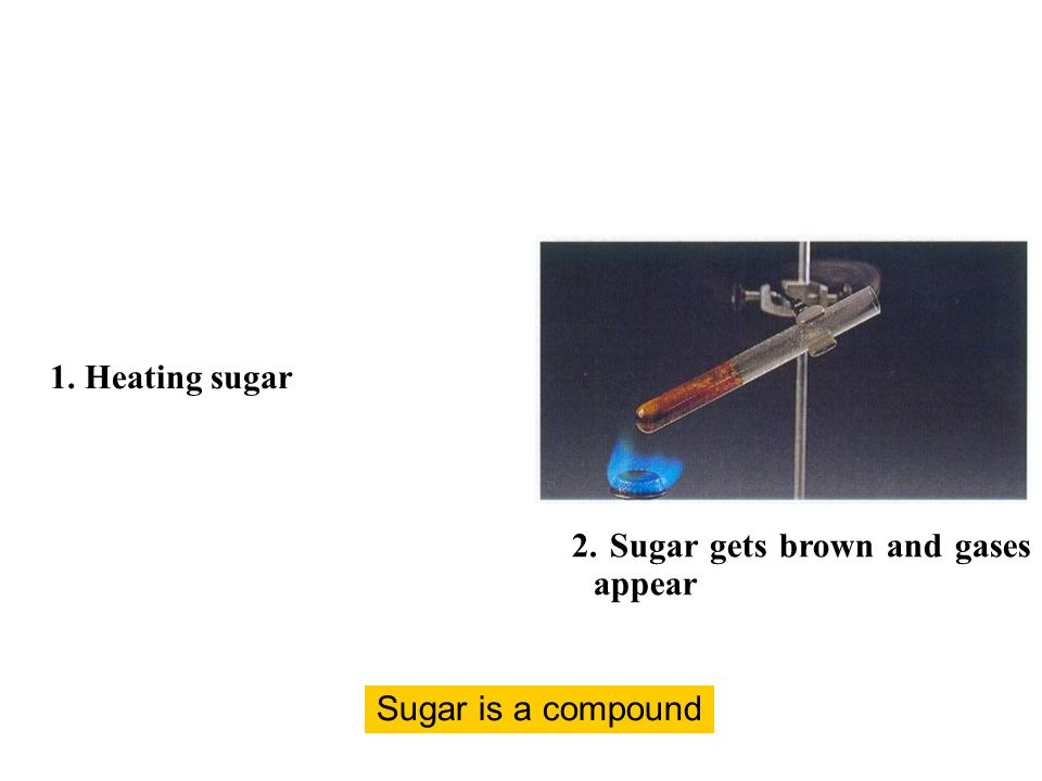 2. Sugar gets brown and gases appear Sugar is a compound 1. Heating sugar