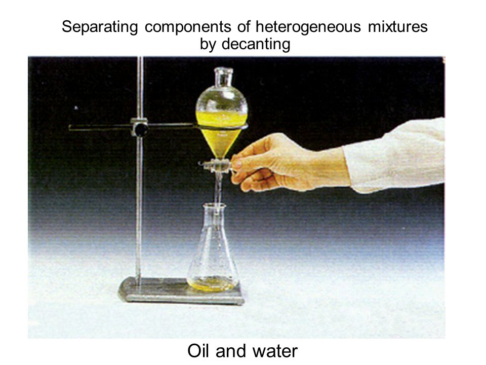 Separating components of heterogeneous mixtures by decanting Oil and water