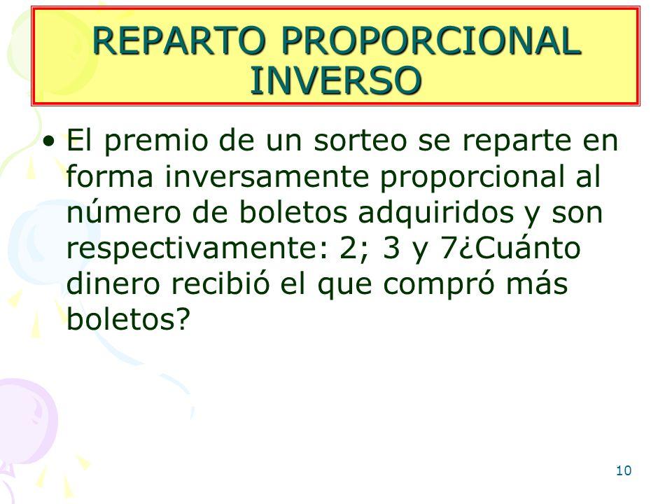 10 REPARTO PROPORCIONAL INVERSO El premio de un sorteo se reparte en forma inversamente proporcional al número de boletos adquiridos y son respectivam