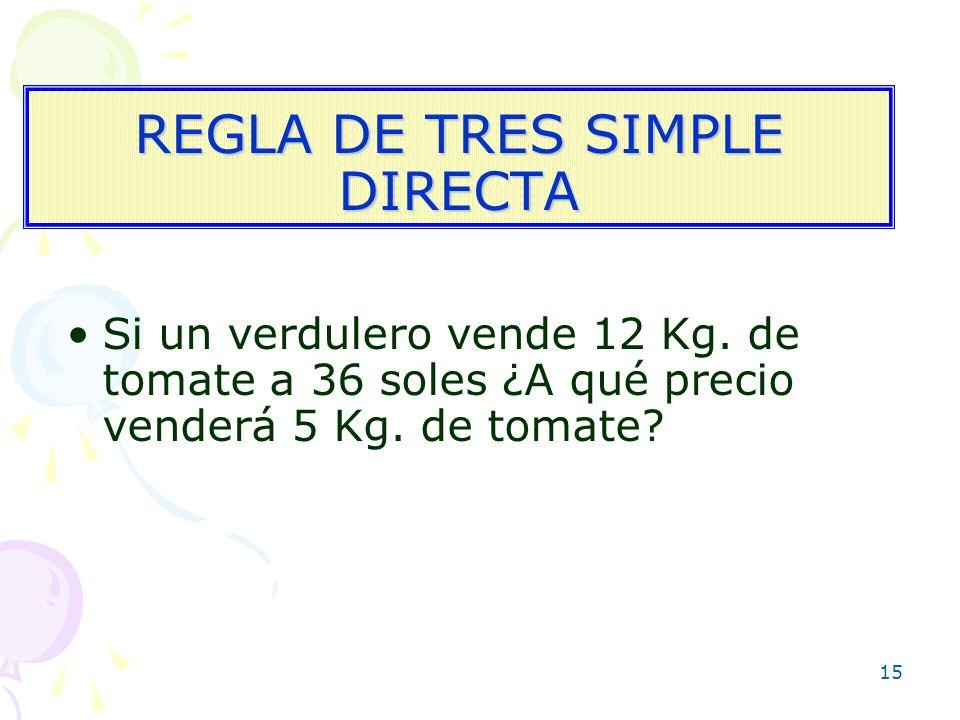 15 REGLA DE TRES SIMPLE DIRECTA Si un verdulero vende 12 Kg. de tomate a 36 soles ¿A qué precio venderá 5 Kg. de tomate?