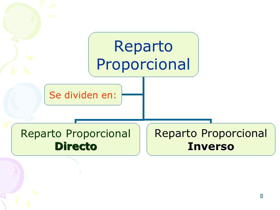 8 Reparto Proporcional Reparto ProporcionalDirecto Inverso Se dividen en: