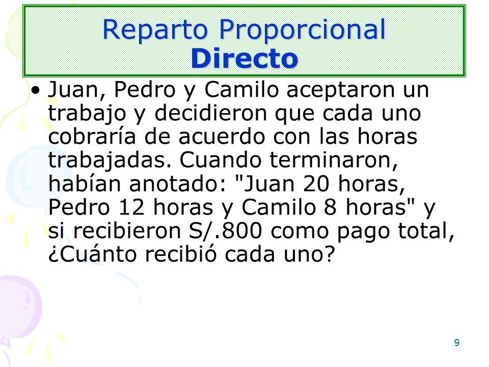 9 Reparto Proporcional Directo Juan, Pedro y Camilo aceptaron un trabajo y decidieron que cada uno cobraría de acuerdo con las horas trabajadas. Cuand
