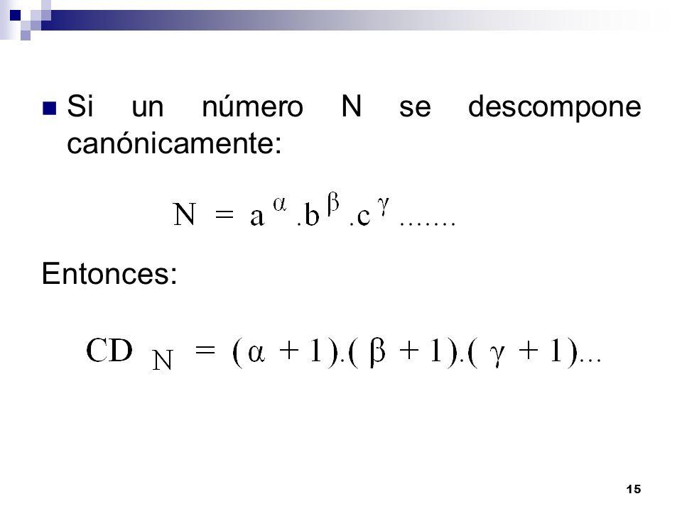 15 Si un número N se descompone canónicamente: Entonces: