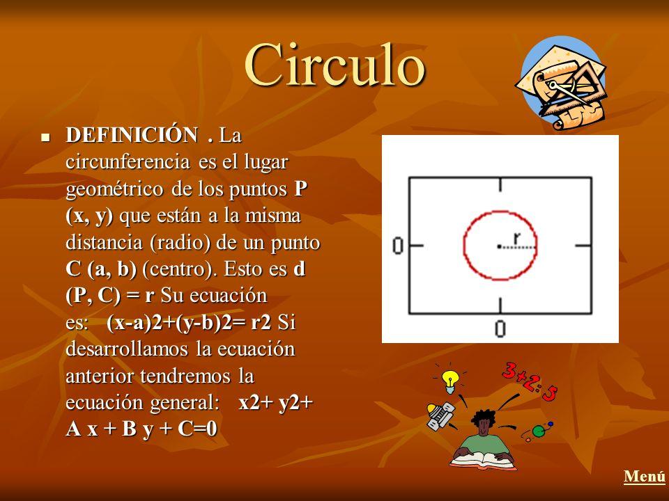 Circulo DEFINICIÓN. La circunferencia es el lugar geométrico de los puntos P (x, y) que están a la misma distancia (radio) de un punto C (a, b) (centr