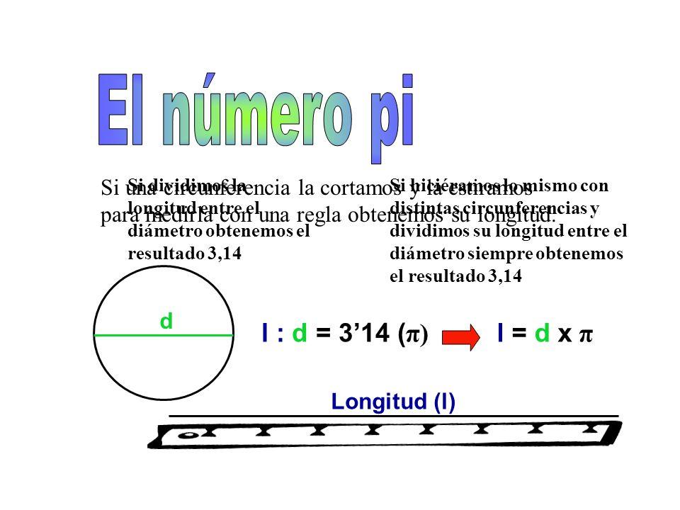 Si una circunferencia la cortamos y la estiramos para medirla con una regla obtenemos su longitud.