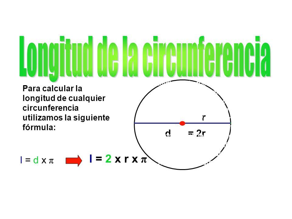 Para calcular la longitud de cualquier circunferencia utilizamos la siguiente fórmula: l = d x π r d= 2r l = 2 x r x π klfdlmedbkefblnkeblnkerfnklenkl sfnklbmlfbmlfbmldfbmldfbmdfb mldfbmldfbmldfbmlbdfmldfbmldf mldfmldfbmldfbmlfdbmldfbmldf mlfdbmlfbdmlfdbmlfbdmfbdmlfb dmlfbdmbdfmfmfbdmdfbmfbdml dfbmlfdbmlfdbmldfbmldfmldfbmf dbmdfbmldfbmlfbdmlfdmldfbmlf dmldfbmlfdbmlfmldfmlmemkvre mkemkvemkvemvevmvemm