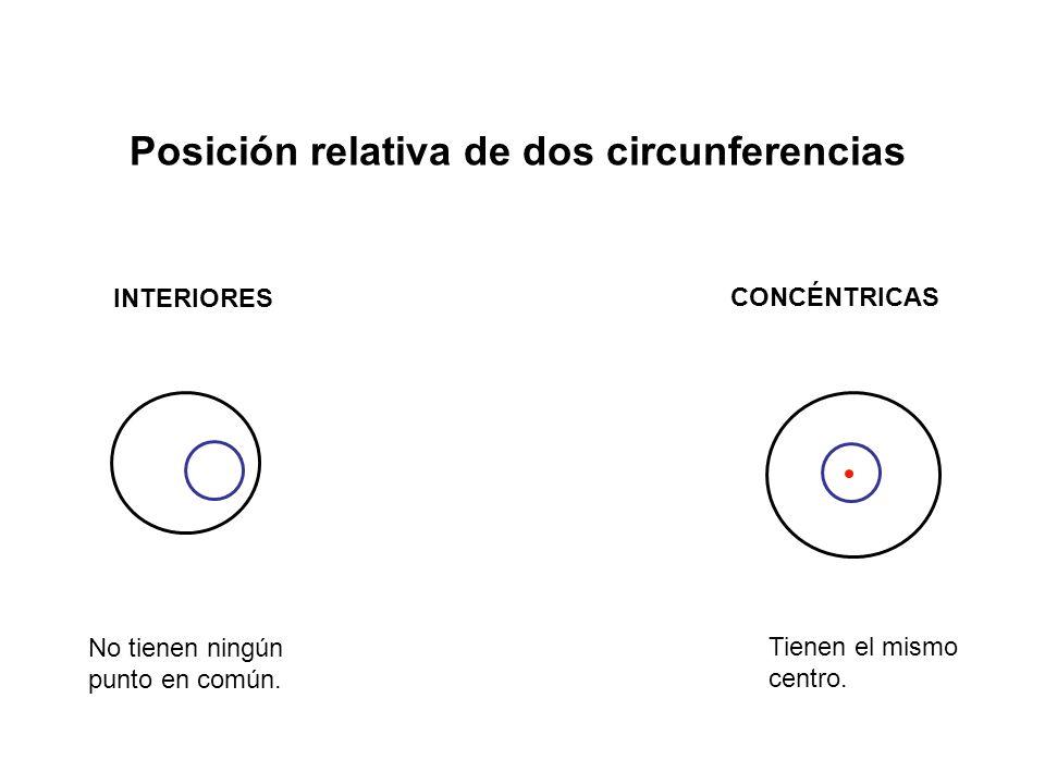 Posición relativa de dos circunferencias INTERIORES CONCÉNTRICAS No tienen ningún punto en común.