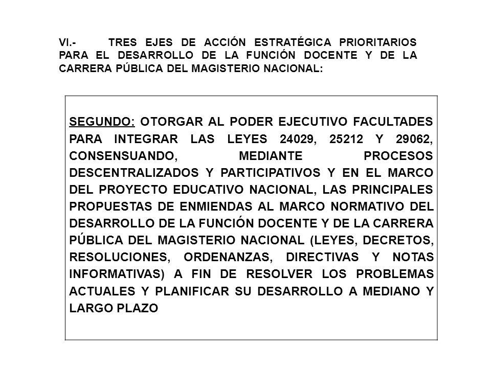 VI.-TRES EJES DE ACCIÓN ESTRATÉGICA PRIORITARIOS PARA EL DESARROLLO DE LA FUNCIÓN DOCENTE Y DE LA CARRERA PÚBLICA DEL MAGISTERIO NACIONAL: SEGUNDO: OT