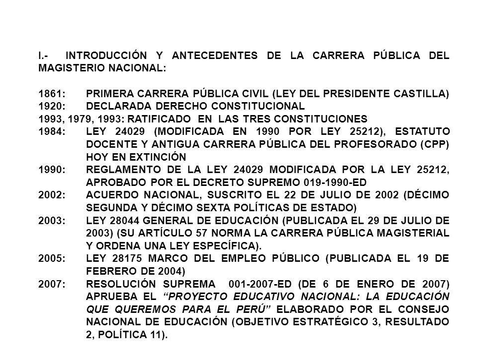 I.- INTRODUCCIÓN Y ANTECEDENTES DE LA CARRERA PÚBLICA DEL MAGISTERIO NACIONAL: 1861:PRIMERA CARRERA PÚBLICA CIVIL (LEY DEL PRESIDENTE CASTILLA) 1920: