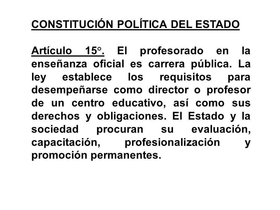 CONSTITUCIÓN POLÍTICA DEL ESTADO Artículo 15°. El profesorado en la enseñanza oficial es carrera pública. La ley establece los requisitos para desempe