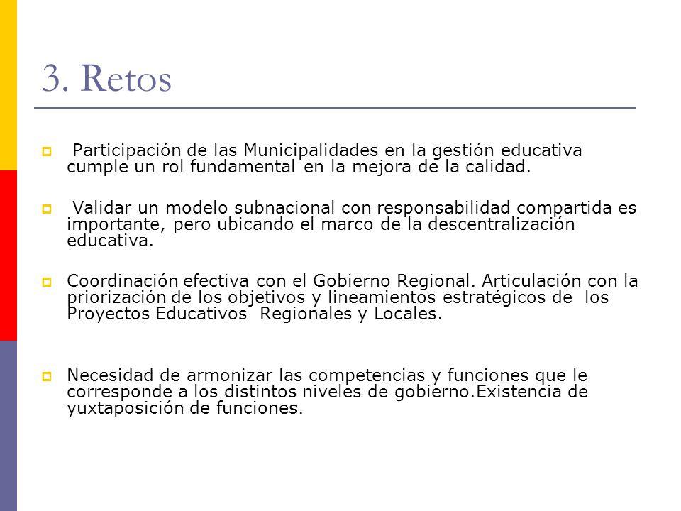 3. Retos Participación de las Municipalidades en la gestión educativa cumple un rol fundamental en la mejora de la calidad. Validar un modelo subnacio