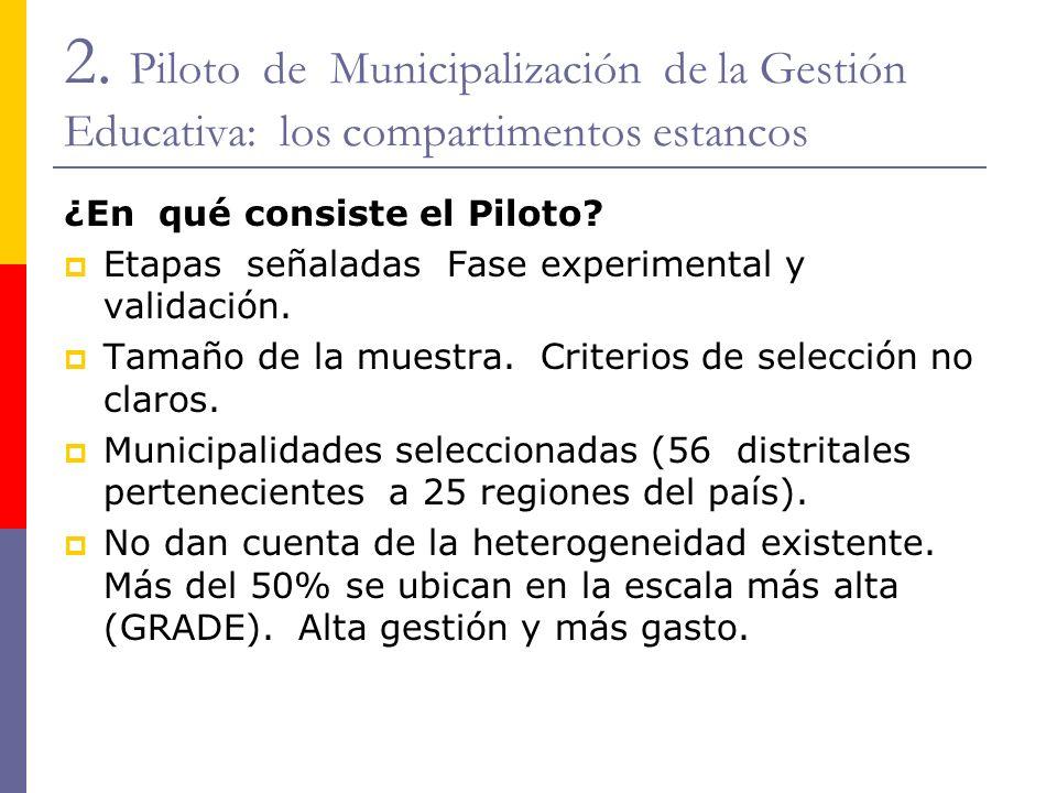 2. Piloto de Municipalización de la Gestión Educativa: los compartimentos estancos ¿En qué consiste el Piloto? Etapas señaladas Fase experimental y va