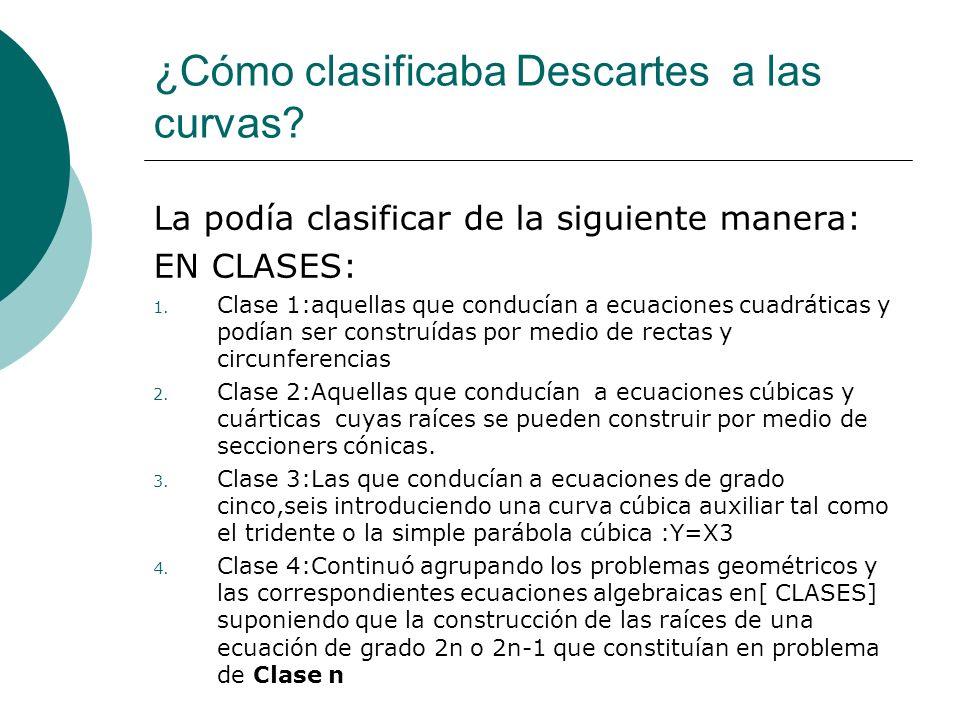 ¿Cómo clasificaba Descartes a las curvas? La podía clasificar de la siguiente manera: EN CLASES: 1. Clase 1:aquellas que conducían a ecuaciones cuadrá