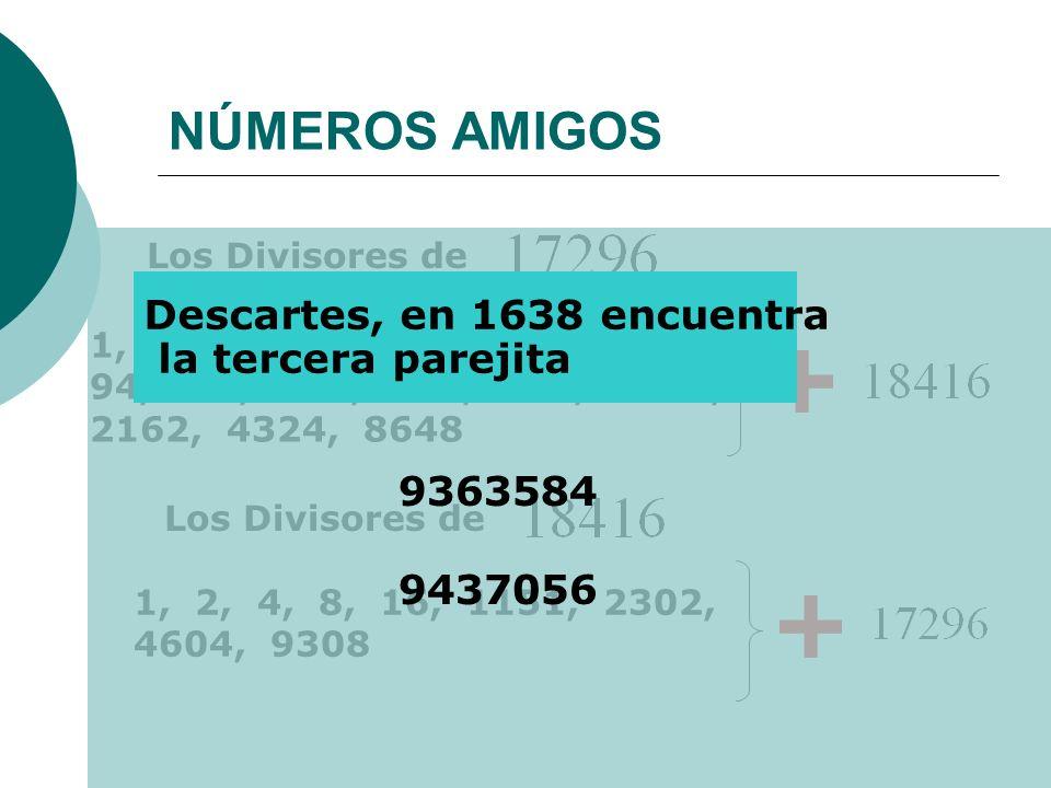 NÚMEROS AMIGOS Los Divisores de 1, 2, 4, 8, 16, 23, 46, 47, 92, 94, 188, 368, 376, 752, 1081, 2162, 4324, 8648 1, 2, 4, 8, 16, 1151, 2302, 4604, 9308