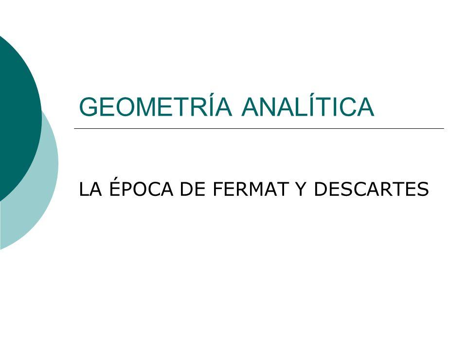 GEOMETRÍA ANALÍTICA LA ÉPOCA DE FERMAT Y DESCARTES