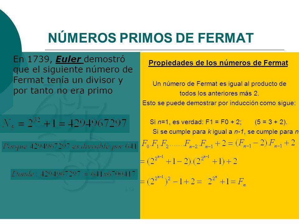 NÚMEROS PRIMOS DE FERMAT Fermat concluyo Obtuvo los llamados números de Fermat Propiedades de los números de Fermat Un número de Fermat es igual al pr