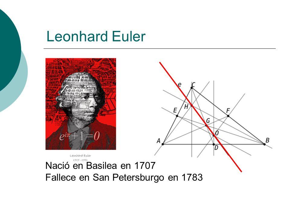 Leonhard Euler Nació en Basilea en 1707 Fallece en San Petersburgo en 1783