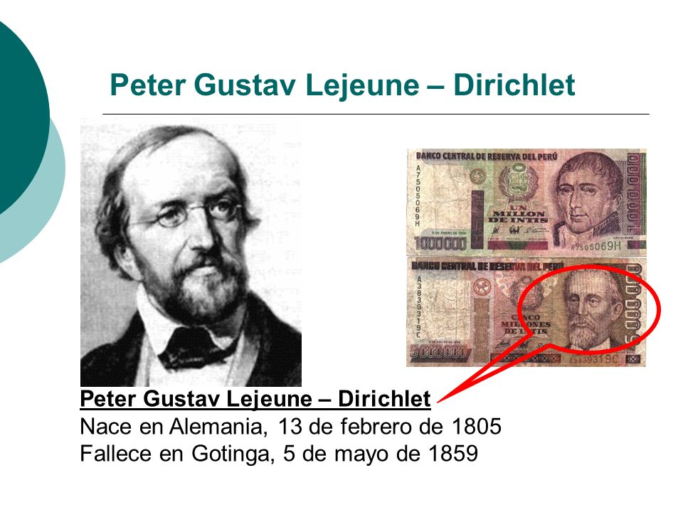 Peter Gustav Lejeune – Dirichlet Nace en Alemania, 13 de febrero de 1805 Fallece en Gotinga, 5 de mayo de 1859