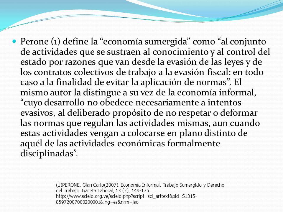 Perone (1) define la economía sumergida como al conjunto de actividades que se sustraen al conocimiento y al control del estado por razones que van de
