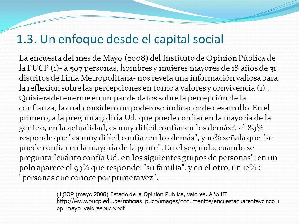 1.3. Un enfoque desde el capital social La encuesta del mes de Mayo (2008) del Instituto de Opinión Pública de la PUCP (1)- a 507 personas, hombres y