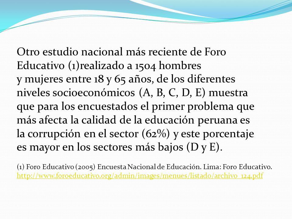 Otro estudio nacional más reciente de Foro Educativo (1)realizado a 1504 hombres y mujeres entre 18 y 65 años, de los diferentes niveles socioeconómic