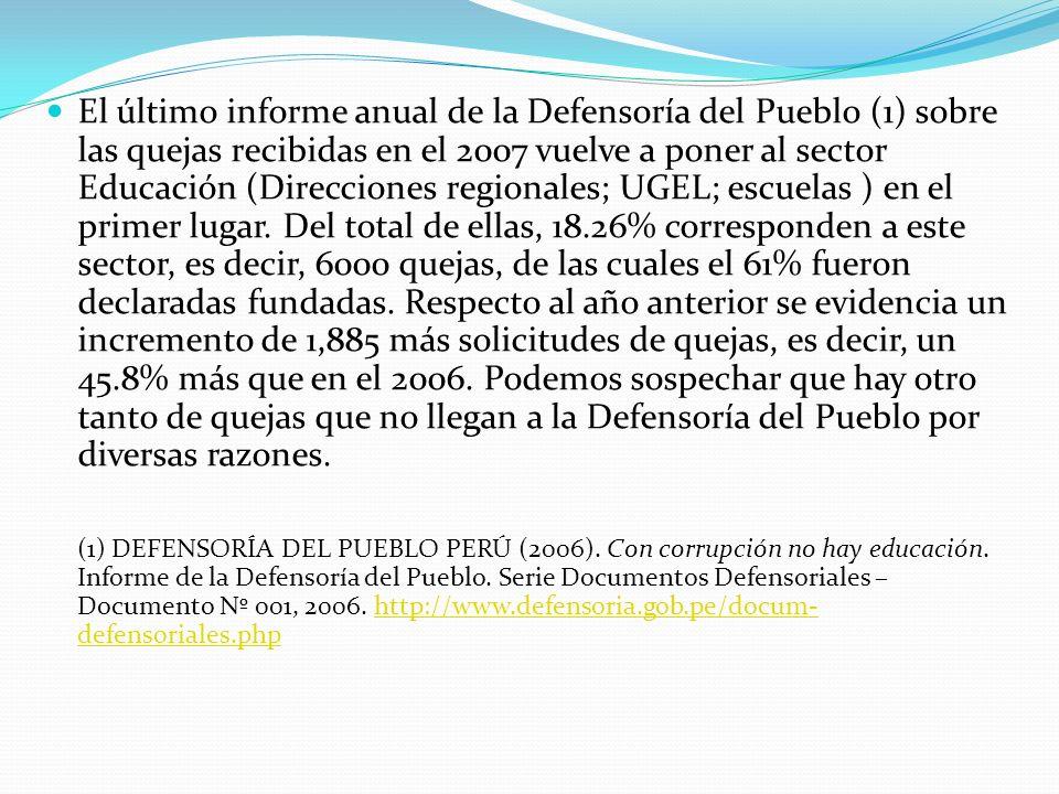 El último informe anual de la Defensoría del Pueblo (1) sobre las quejas recibidas en el 2007 vuelve a poner al sector Educación (Direcciones regional