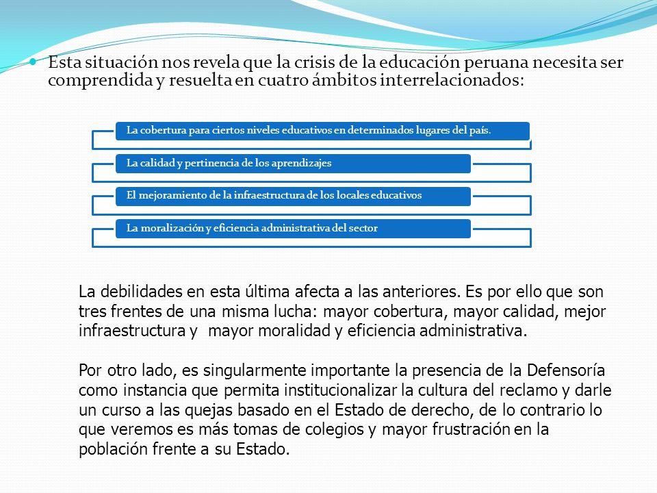 Esta situación nos revela que la crisis de la educación peruana necesita ser comprendida y resuelta en cuatro ámbitos interrelacionados: La cobertura