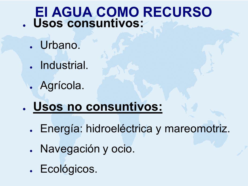 El AGUA COMO RECURSO Usos consuntivos: Urbano. Industrial. Agrícola. Usos no consuntivos: Energía: hidroeléctrica y mareomotriz. Navegación y ocio. Ec