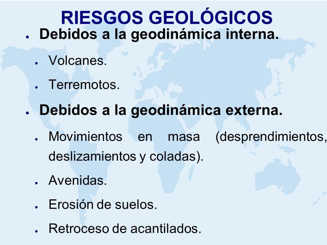 RIESGOS GEOLÓGICOS Debidos a la geodinámica interna. Volcanes. Terremotos. Debidos a la geodinámica externa. Movimientos en masa (desprendimientos, de