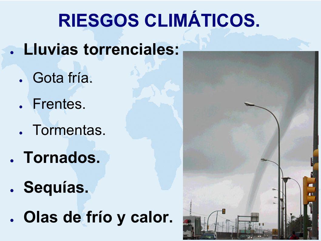 RIESGOS CLIMÁTICOS. Lluvias torrenciales: Gota fría. Frentes. Tormentas. Tornados. Sequías. Olas de frío y calor.
