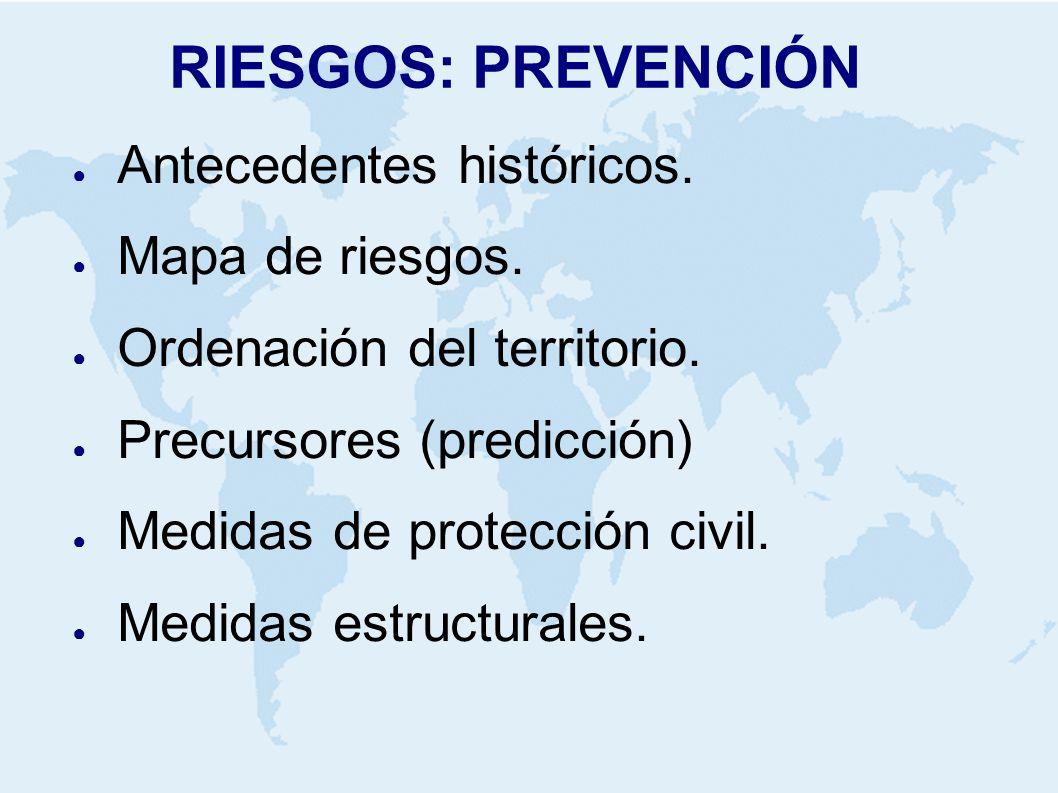 RIESGOS: PREVENCIÓN Antecedentes históricos. Mapa de riesgos. Ordenación del territorio. Precursores (predicción) Medidas de protección civil. Medidas