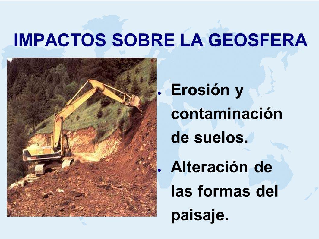 IMPACTOS SOBRE LA GEOSFERA Erosión y contaminación de suelos. Alteración de las formas del paisaje.