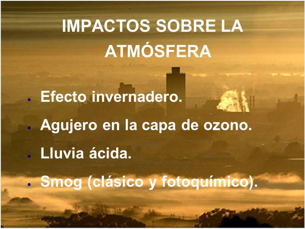 IMPACTOS SOBRE LA ATMÓSFERA Efecto invernadero. Agujero en la capa de ozono. Lluvia ácida. Smog (clásico y fotoquímico).