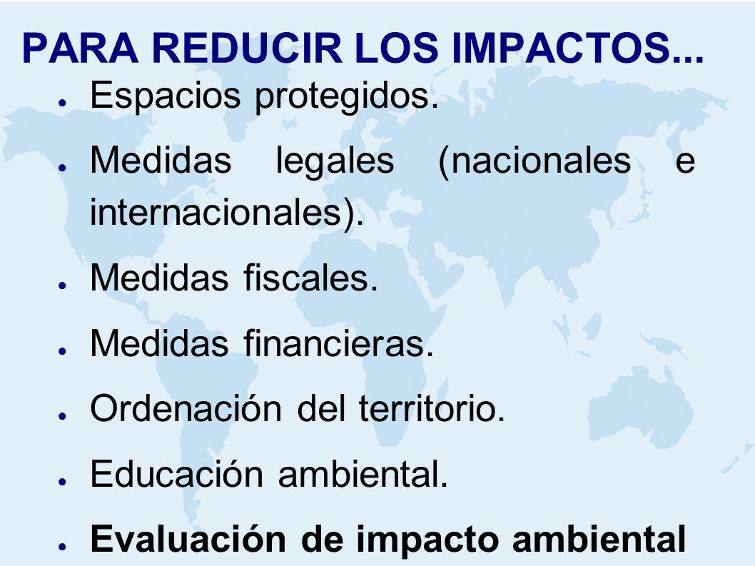 PARA REDUCIR LOS IMPACTOS... Espacios protegidos. Medidas legales (nacionales e internacionales). Medidas fiscales. Medidas financieras. Ordenación de