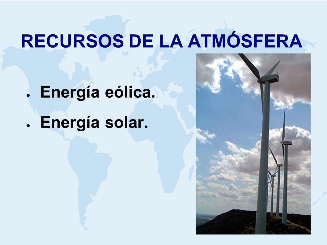 RECURSOS DE LA ATMÓSFERA Energía eólica. Energía solar.