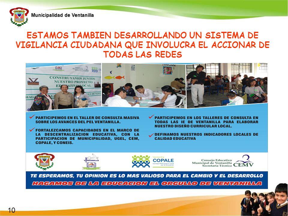 Municipalidad de Ventanilla ESTAMOS TAMBIEN DESARROLLANDO UN SISTEMA DE VIGILANCIA CIUDADANA QUE INVOLUCRA EL ACCIONAR DE TODAS LAS REDES 10
