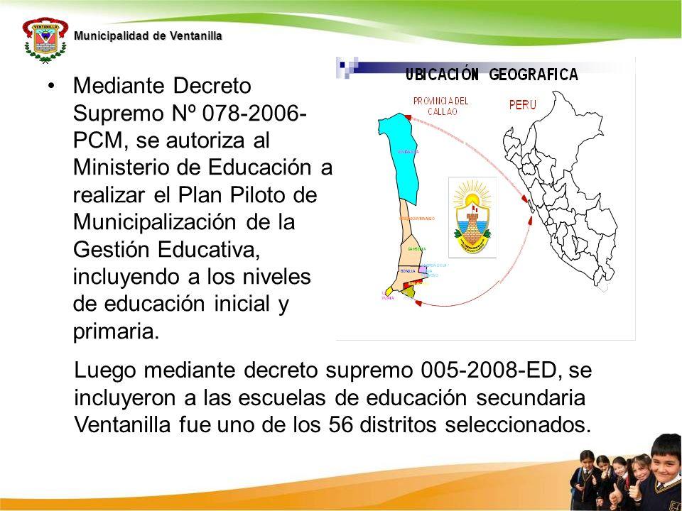 Municipalidad de Ventanilla Mediante Decreto Supremo Nº 078-2006- PCM, se autoriza al Ministerio de Educación a realizar el Plan Piloto de Municipaliz