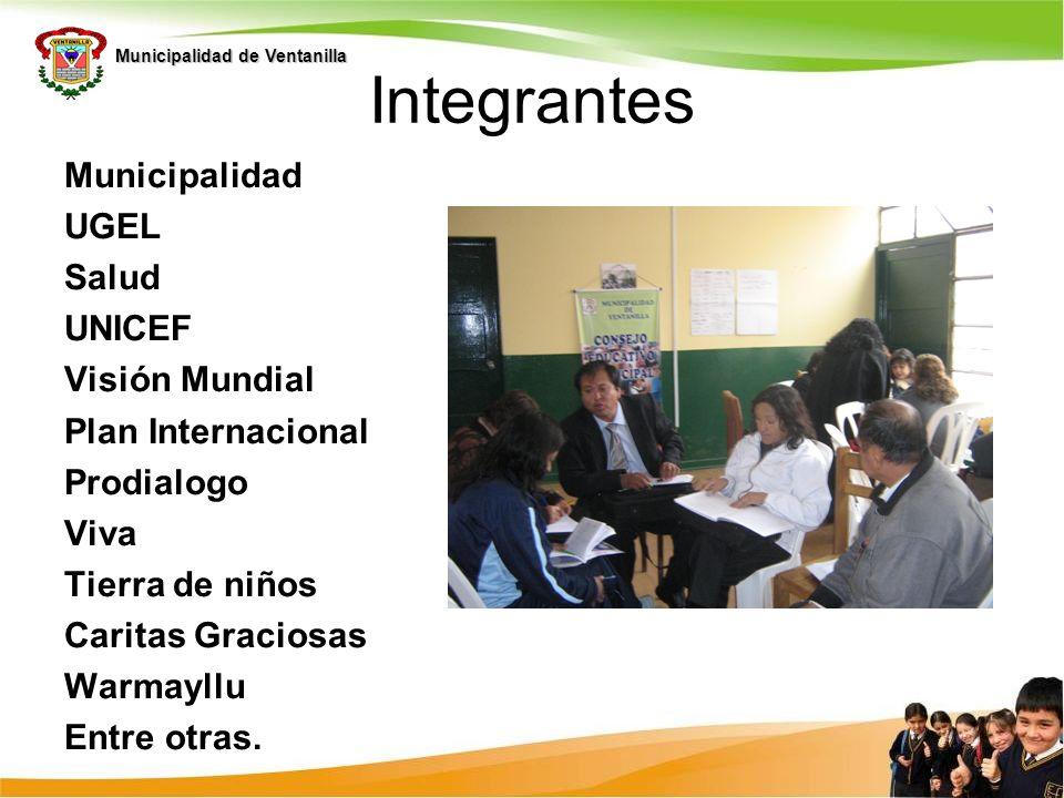 Municipalidad de Ventanilla Integrantes Municipalidad UGEL Salud UNICEF Visión Mundial Plan Internacional Prodialogo Viva Tierra de niños Caritas Grac
