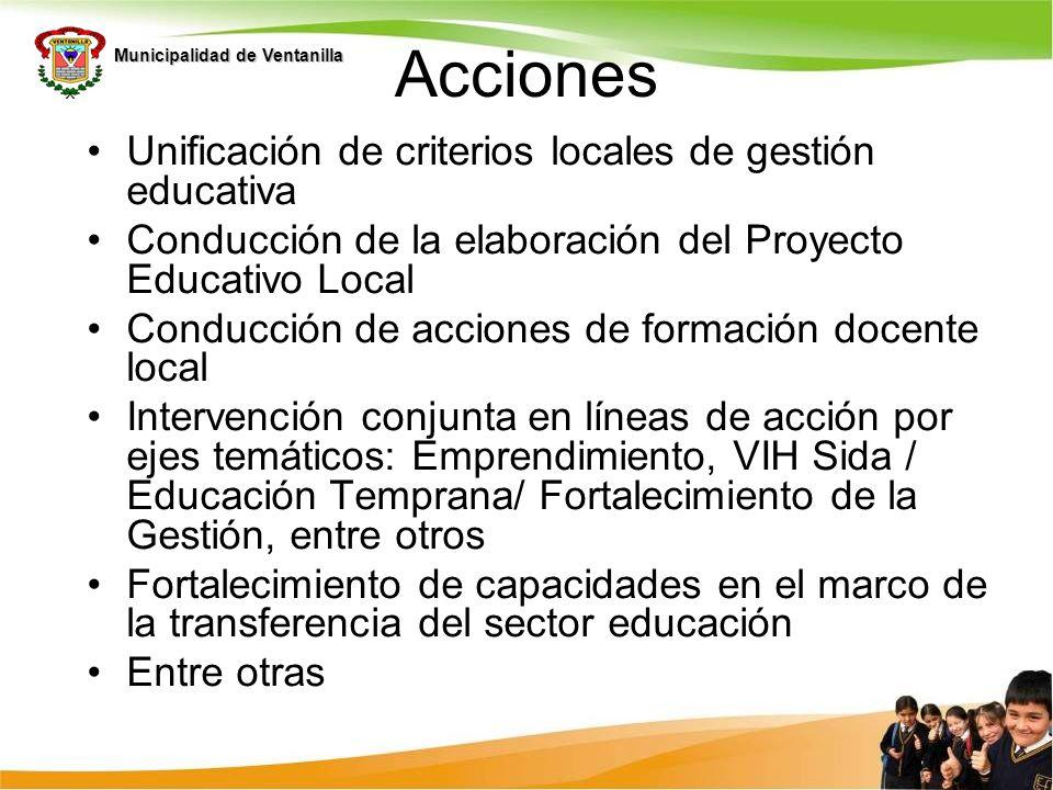 Municipalidad de Ventanilla Acciones Unificación de criterios locales de gestión educativa Conducción de la elaboración del Proyecto Educativo Local C