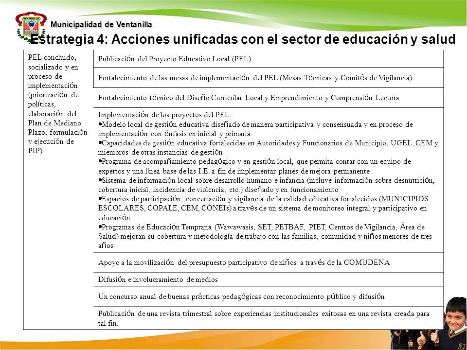 Municipalidad de Ventanilla Estrategia 4: Acciones unificadas con el sector de educación y salud PEL concluido, socializado y en proceso de implementa