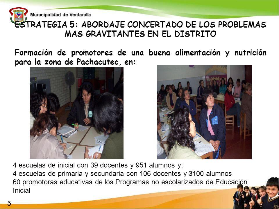 Municipalidad de Ventanilla ESTRATEGIA 5: ABORDAJE CONCERTADO DE LOS PROBLEMAS MAS GRAVITANTES EN EL DISTRITO Formación de promotores de una buena ali