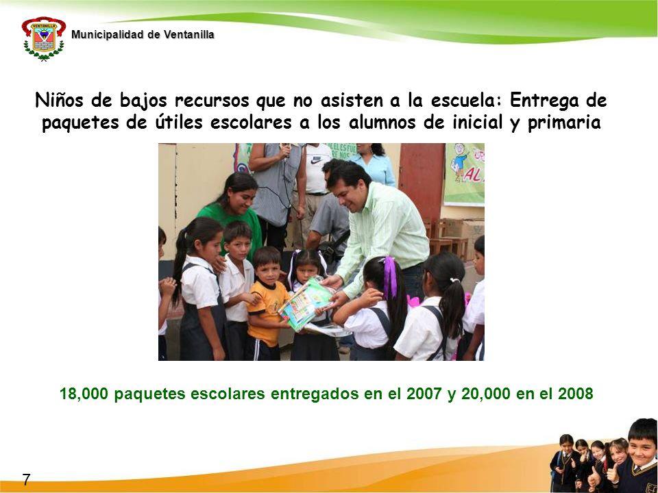 Municipalidad de Ventanilla Niños de bajos recursos que no asisten a la escuela: Entrega de paquetes de útiles escolares a los alumnos de inicial y pr