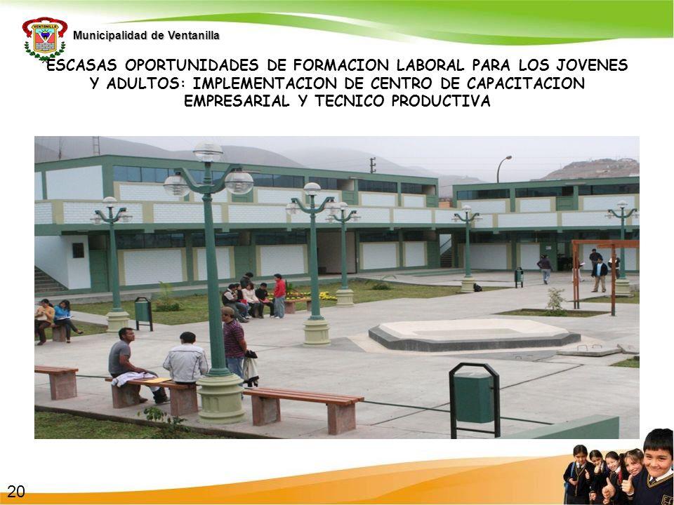 Municipalidad de Ventanilla ESCASAS OPORTUNIDADES DE FORMACION LABORAL PARA LOS JOVENES Y ADULTOS: IMPLEMENTACION DE CENTRO DE CAPACITACION EMPRESARIA