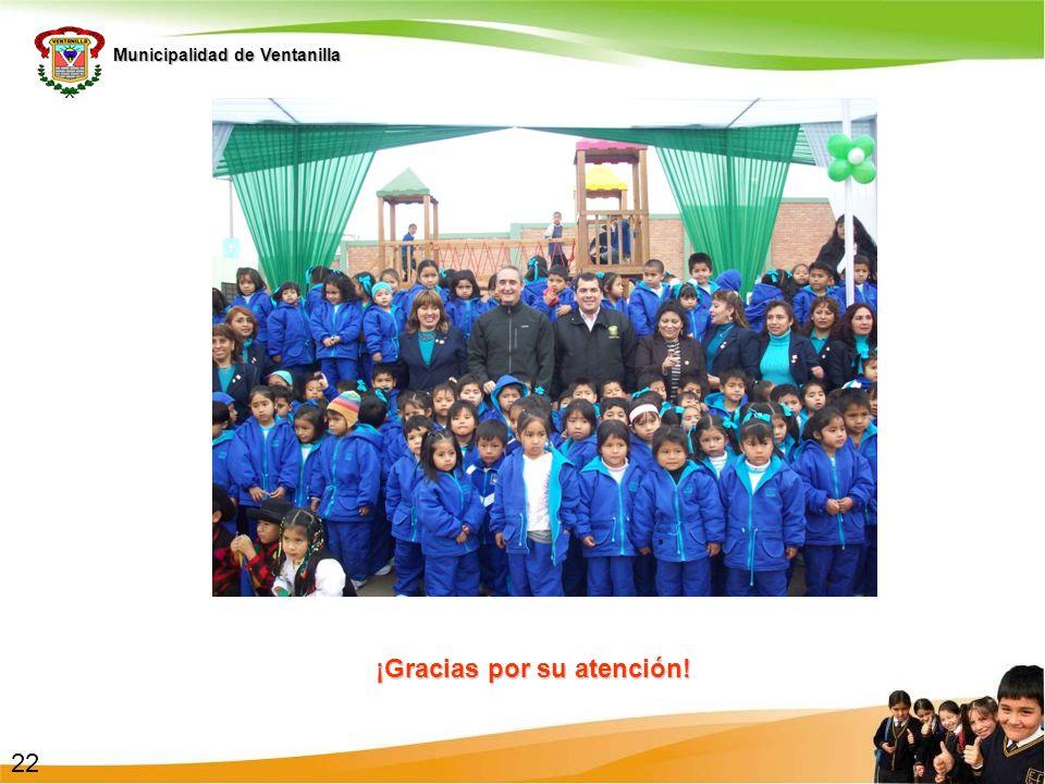 Municipalidad de Ventanilla ¡Gracias por su atención! 22