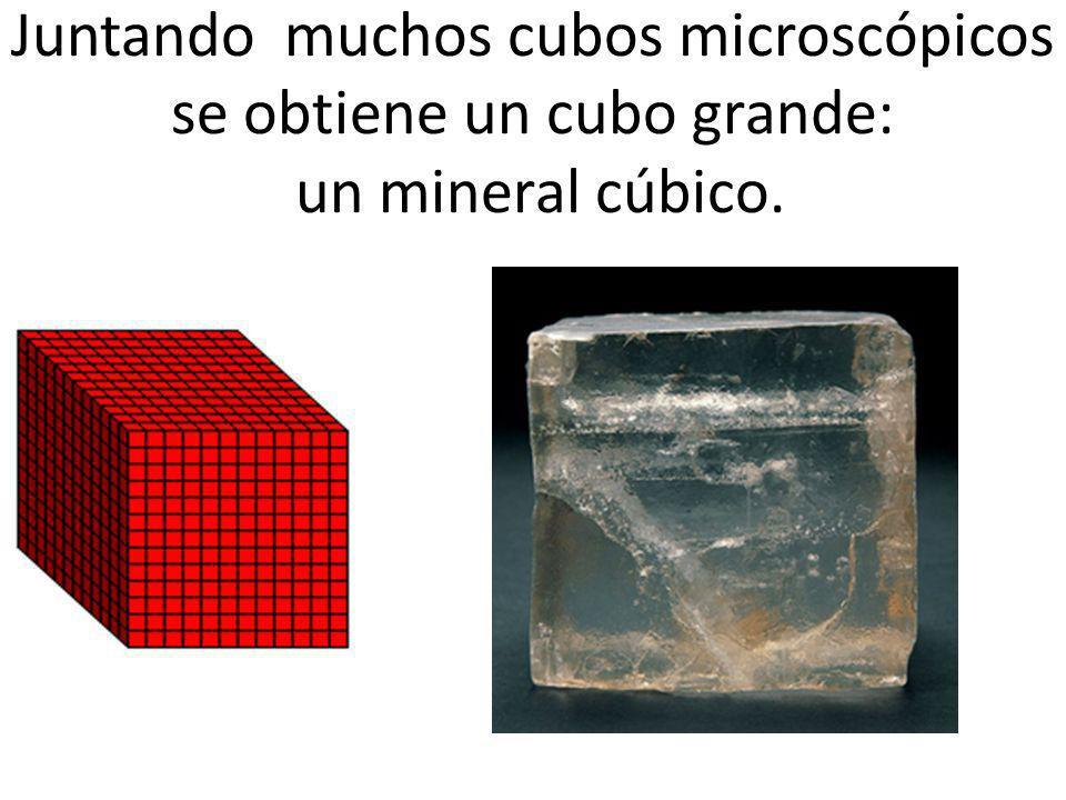 Juntando muchos cubos microscópicos se obtiene un cubo grande: un mineral cúbico.