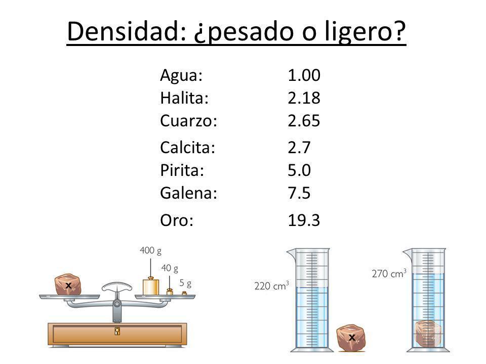Densidad: ¿pesado o ligero? Agua: 1.00 Halita: 2.18 Cuarzo: 2.65 Calcita:2.7 Pirita: 5.0 Galena: 7.5 Oro: 19.3