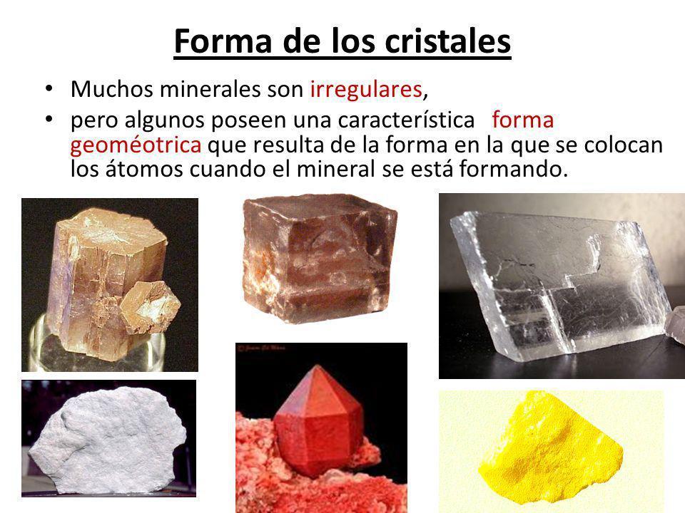 Forma de los cristales Muchos minerales son irregulares, pero algunos poseen una característica forma geoméotrica que resulta de la forma en la que se