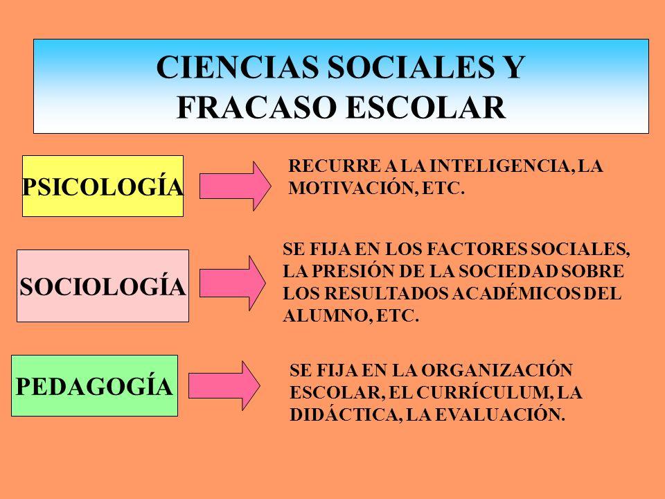 CIENCIAS SOCIALES Y FRACASO ESCOLAR LAS CAUSAS DEL FRACASO ESCOLAR DEBEN SER ANALIZADAS PARA PROGRAMAR Y REALIZAR LAS TAREAS PREVENTIVAS OPORTUNAS, IM