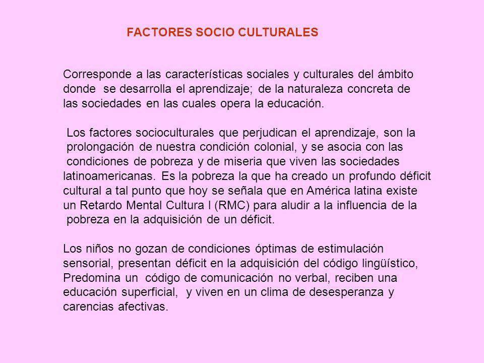 FACTORES QUE PERJUDICAN EL APRENDIZAJE FACTORES Socio culturales Individuales Ambientales Inapropiados Métodos de estudio Incorrecta práctica docente