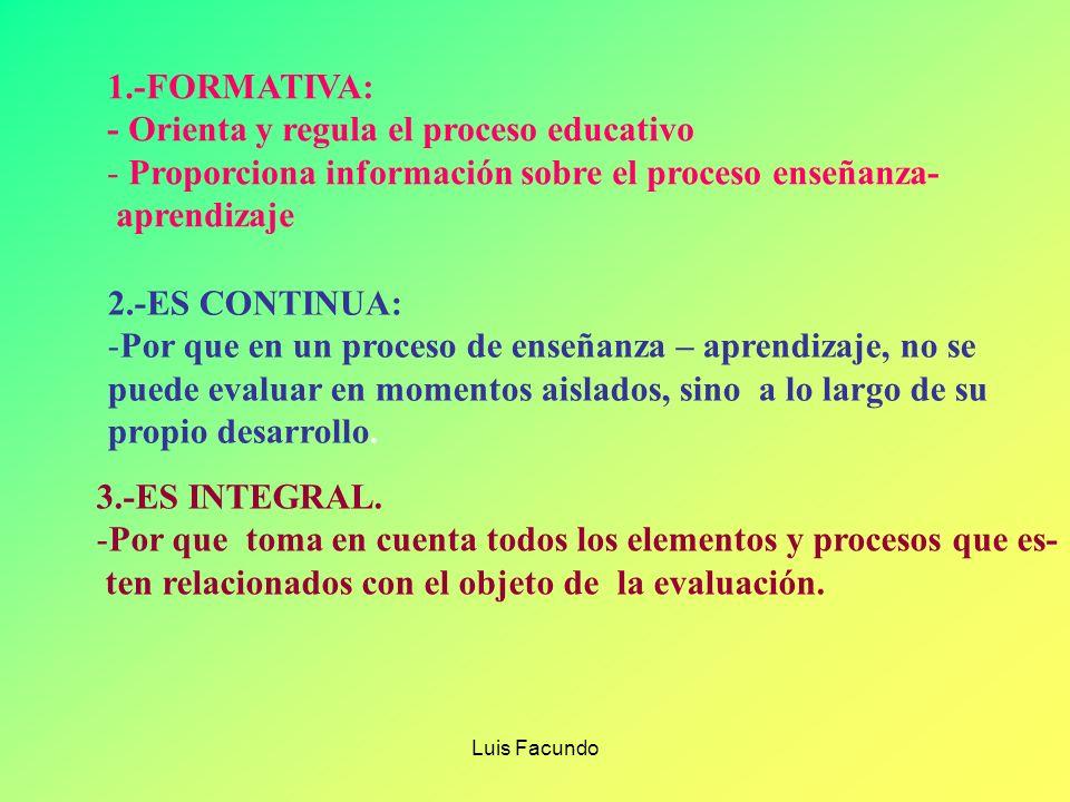 Luis Facundo PRINCIPIOS DE EVALUACION FORMATIVA CONTINUA INTEGRAL CONTEXTUALIZADA DEMOCRÁTICA CUALITATIVA INDIVIDUALIZADA